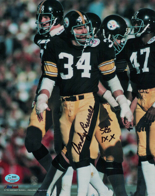 Andy Russell Autographed Pittsburgh Steelers 8x10 Photo SB IX X SGC PSM-Powers Sports Memorabilia