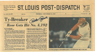Pete Rose signed Reds 9-12-85 St. Louis Post-Dispatch Vintage Newspaper Ty Breaker 4192 Hit (full original cover-pristine)- BAS PSM