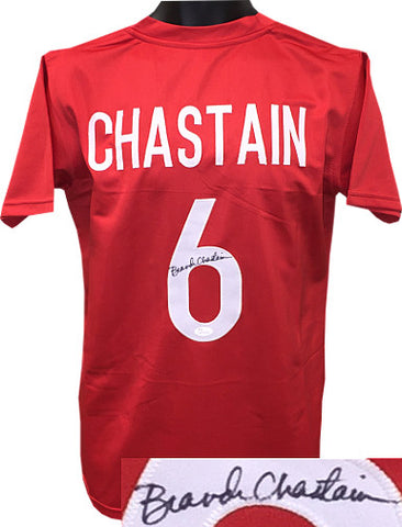 f6cb4020e Brandi Chastain signed Team USA Red Custom Stitched Soccer Jersey- JSA  Hologram PSM-Powers
