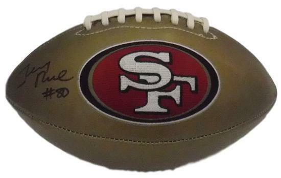 Jerry Rice Autographed San Francisco 49ers Gold Logo Football BAS PSM