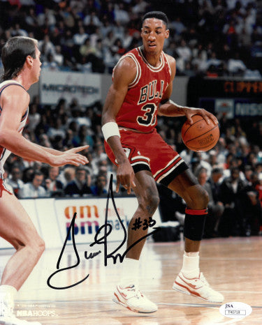 Scottie Pippen signed Chicago Bulls 8x10 Photo #33- JSA Hologram #T40718 (red jersey dribbling) PSM-Powers Sports Memorabilia