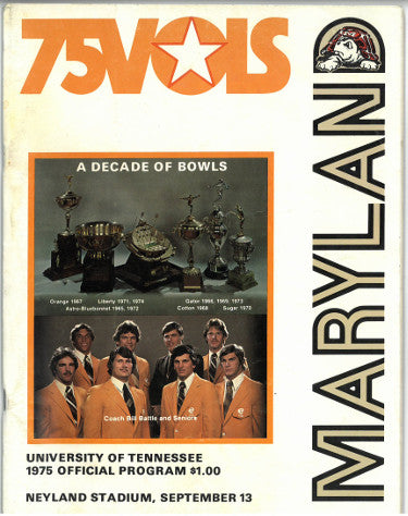 Tennessee Volunteers vs Maryland Terrapins College Football Game Program- September 13, 1975- minor cover wear PSM-Powers Sports Memorabilia