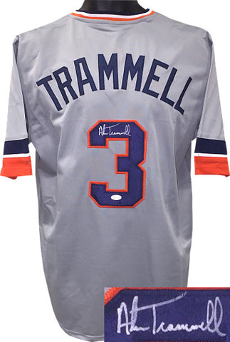 Alan Trammell signed Gray TB Custom Stitched Baseball Jersey XL- JSA Witnessed Hologram PSM-Powers Sports Memorabilia