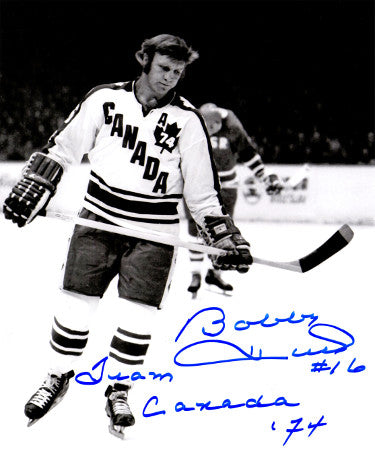 Bobby Hull signed Team Canada Vintage B&W 8x10 Photo #16 Team Canada 74 PSM