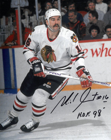 Michel Goulet signed Chicago Blackhawks 8x10 Photo #16 HOF 98 PSM
