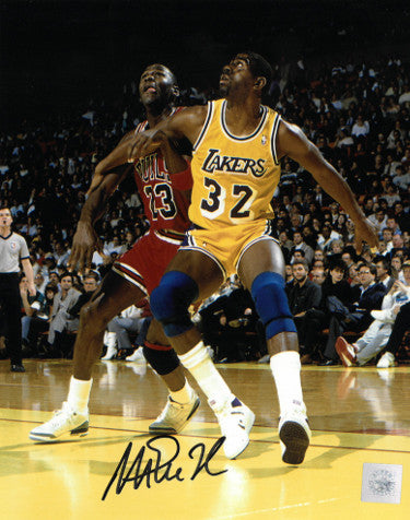 0b728b9ebbd0 Magic Johnson signed Los Angeles Lakers 8x10 Photo (vs Michael Jordan)- SSG  Hologram
