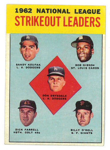 1963 Topps 1962 NL Strikeout Leaders Baseball Trading Card #9 (Sandy Koufax/Don Drysdale/Bob Gibson) PSM