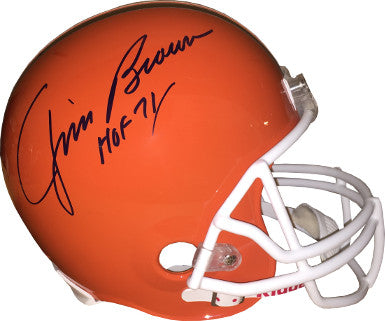 Jim Brown signed Cleveland Browns Riddell Full Size TB Replica Helmet HOF 71 (white mask)- JSA Witnessed Hologram #W212855 PSM-Powers Sports Memorabilia