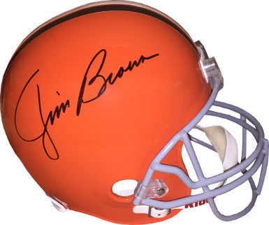 Jim Brown signed Cleveland Browns Riddell Full Size TB Replica Helmet (gray mask)- JSA Witnessed Hologram PSM-Powers Sports Memorabilia