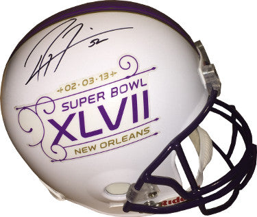Ray Lewis signed Super Bowl XLVII Logo Riddell Full Size Replica Helmet #52 (Baltimore Ravens)- JSA Hologram #CC08828 PSM-Powers Sports Memorabilia