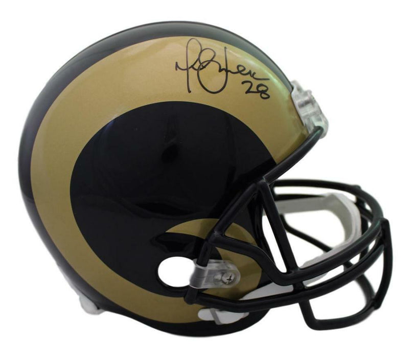 Marshall Faulk Autographed St Louis Rams Replica Helmet JSA PSM-Powers Sports Memorabilia
