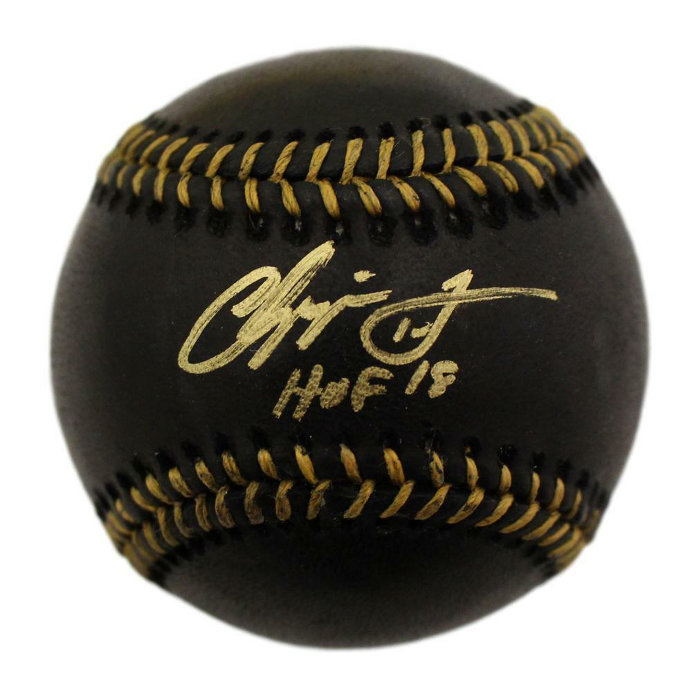 Chipper Jones Autographed Atlanta Braves Black OML Baseball HOF BAS PSM-Powers Sports Memorabilia