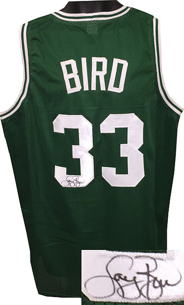 Larry Bird signed Green TB Custom Stitched Pro Basketball Jersey XL- JSA Hologram PSM-Powers Sports Memorabilia