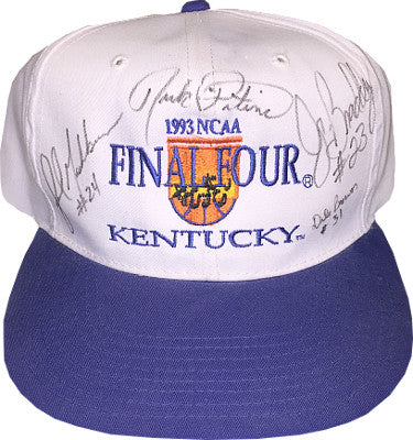 Rick Pitino signed 1992-93 Kentucky Wildcats Final Four Cap- 4 sigs- Jamal Mashburn/Dale Brown/N Braddy- PSA/JSA/BAS Guaranteed PSM-Powers Sports Memorabilia