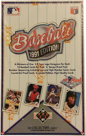 1991 Upper Deck Baseball Trading Card Sealed Wax Box (36 packs) PSM