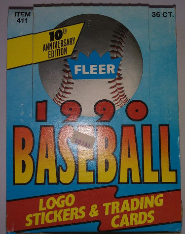 1990 Fleer Baseball Trading Card Wax Box (36 packs) PSM