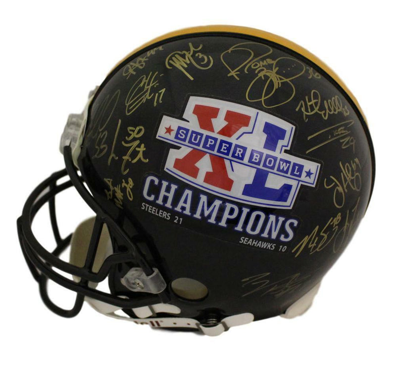 Pittsburgh Steelers Super Bowl XL Autographed Proline Helmet 27 Sigs Bettis BAS PSM-Powers Sports Memorabilia