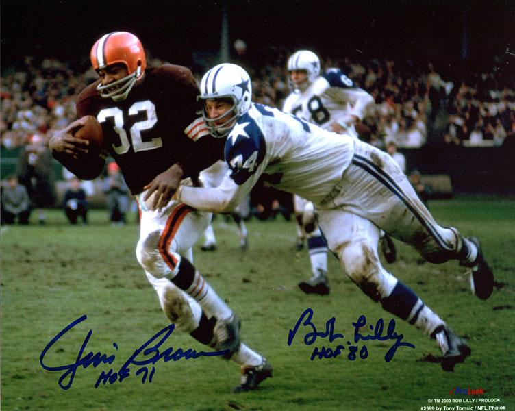 Jim Brown HOF 71 & Bob Lilly HOF 80 Autographed / Signed 8x10 Photo PSM-Powers Sports Memorabilia