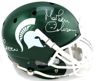 Morten Anderson signed Michigan State Spartans Schutt Full Size Replica Helmet Go Green- Radtke Hologram PSM-Powers Sports Memorabilia