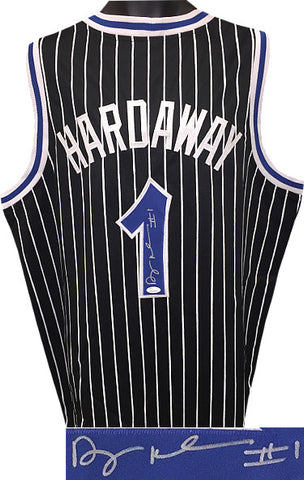 "Anfernee ""Penny"" Hardaway signed Black Pinstripe Custom Stitched Basketball Jersey #1 XL- JSA Witnessed Hologram #WP534064 PSM"