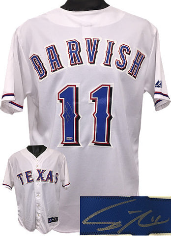 Yu Darvish signed Texas Rangers White Majestic MLB Jersey #11 M- MLB Authenticated Hologram PSM-Powers Sports Memorabilia