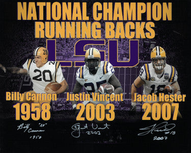 LSU Tigers National Champion Running Backs 16x20 Photo 3 sig-Billy Cannon/Justin Vincent/Jacob Hester w/ Insc -JSA #DD39089 PSM-Powers Sports Memorabilia