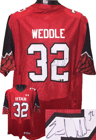 Eric Weddle signed Utah Utes NCAA Under Armour Red Jersey #32 Size L- Fanatics Hologram PSM-Powers Sports Memorabilia
