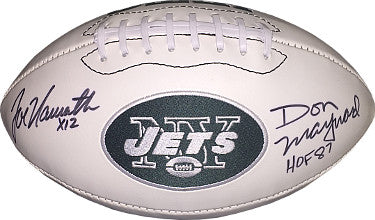 New York Jets dual signed Logo Football w/ Joe Namath X12 and Don Maynard HOF 87- PSA/JSA/BAS Guaranteed To Pass PSM-Powers Sports Memorabilia