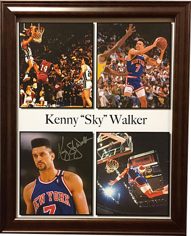 "Kenny ""Sky"" Walker signed New York Knicks 11x14 Photo Custom Framed (4 images)- PSA/JSA/BAS Guaranteed To Pass PSM-Powers Sports Memorabilia"