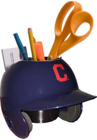 "Cleveland Indians Red ""C"" MLB Baseball Schutt Mini Batting Helmet Desk Caddy PSM-Powers Sports Memorabilia"