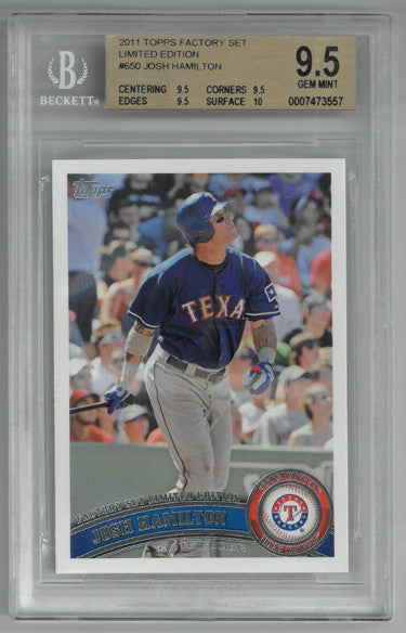 Josh Hamilton 2011 Topps Factory Set Limited Edition Baseball Card #650- BGS Graded 9.5 Gem Mint (Texas Rangers) PSM