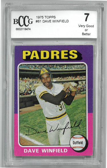 Dave Winfield 1975 Topps Baseball Card #61- BGS Graded 7 Very Good or Better (San Diego Padres) PSM-Powers Sports Memorabilia
