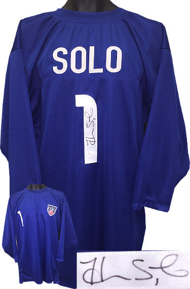 Hope Solo signed Soccer Blue Prostyle Jersey 3/4 Sleeves w/ Team USA Patch #1 XL (Olympics Team USA)- JSA Witnessed Hologram PSM-Powers Sports Memorabilia