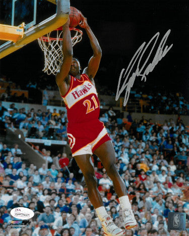 Dominique Wilkins signed Atlanta Hawks 8x10 Photo (reverse dunk)- JSA Witnessed Hologram PSM-Powers Sports Memorabilia