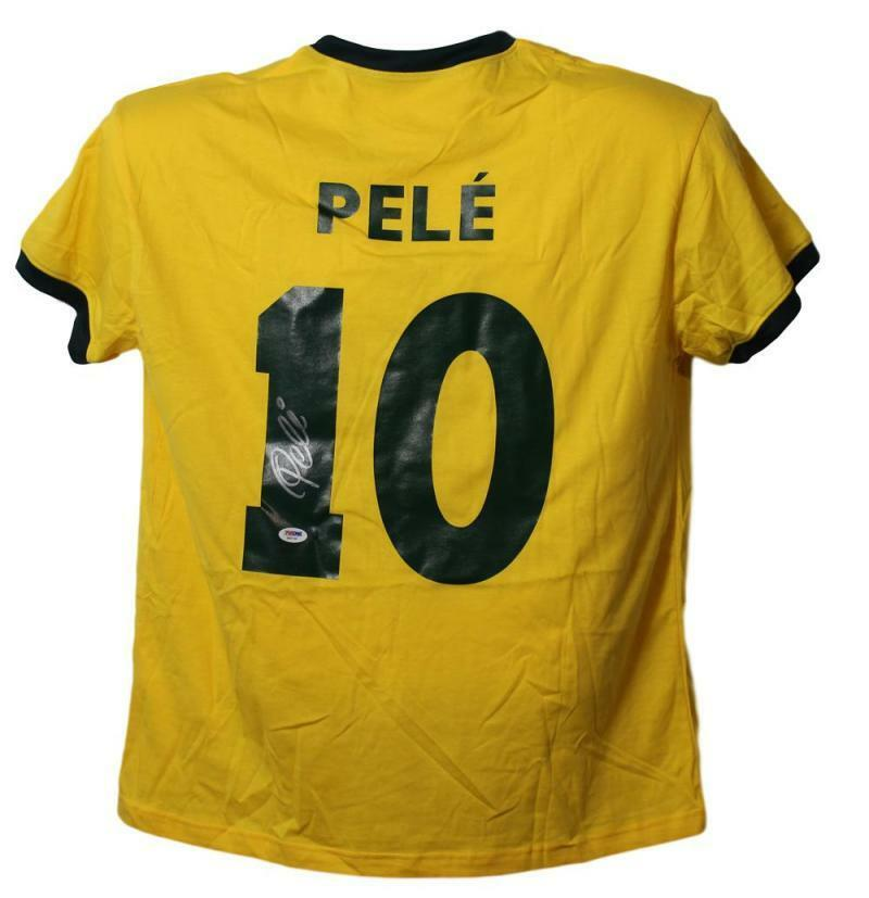 Pele Autographed Brazil XL Yellow Jersey/Shirt PSA PSM-Powers Sports Memorabilia