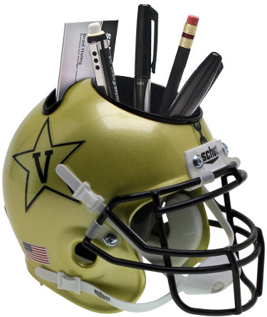 Vanderbilt Commodores (Gold with Anchor) NCAA Football Schutt Mini Helmet Desk Caddy PSM-Powers Sports Memorabilia