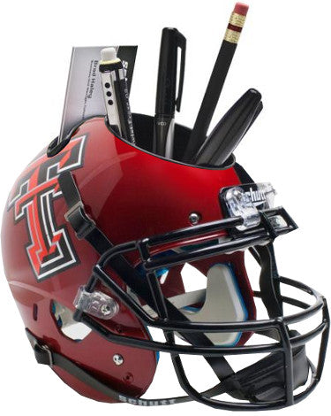 Texas Tech Red Raiders (Red Guns Up) NCAA Football Schutt Mini Helmet Desk Caddy PSM-Powers Sports Memorabilia