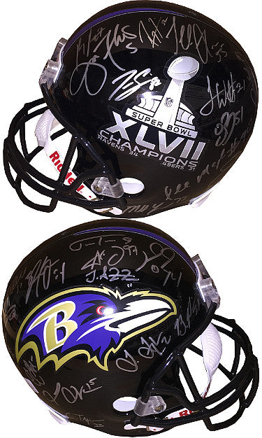Baltimore Ravens SB XLVII Logo Team signed FS Rep Helmet 27 sigs û JSA ITP W424443 Joe Flacco, Ray Lewis, Ray Rice PSM-Powers Sports Memorabilia