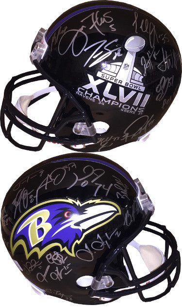 Baltimore Ravens SB XLVII Logo Team signed FS Rep Helmet 27 sigs û JSA ITP W424440 Ray Lewis, Joe Flacco, Ray Rice PSM-Powers Sports Memorabilia