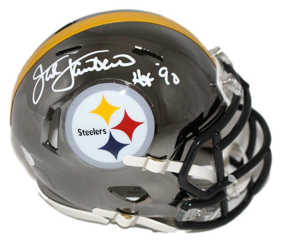 Jack Lambert Autographed Pittsburgh Steelers Chrome Mini Helmet JSA PSM-Powers Sports Memorabilia