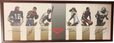 Pony Collage signed 14x38 Framed w/ Ken Stabler/Joe Frazier/Rod Carew/Tracy Austin/Willis Reed/Earl Campbell- JSA LOA #BB21410 PSM-Powers Sports Memorabilia