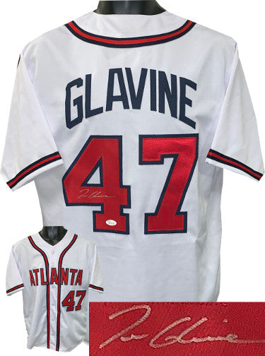 Tom Glavine signed White Custom Stitched Baseball Jersey XL- JSA Witnessed Hologram PSM-Powers Sports Memorabilia