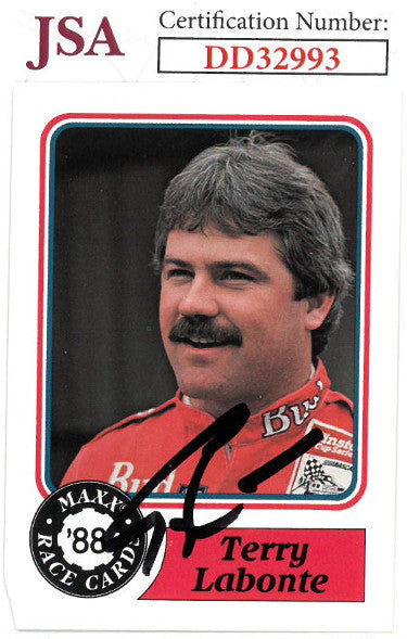 Terry Labonte signed NASCAR 1988 Maxx Charlotte Racing Trading Card #63- JSA Hologram #DD32993 PSM-Powers Sports Memorabilia