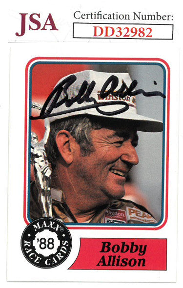 Bobby Allison signed NASCAR 1988 Maxx Charlotte Racing Trading Card #30- JSA Hologram #DD32982 PSM-Powers Sports Memorabilia
