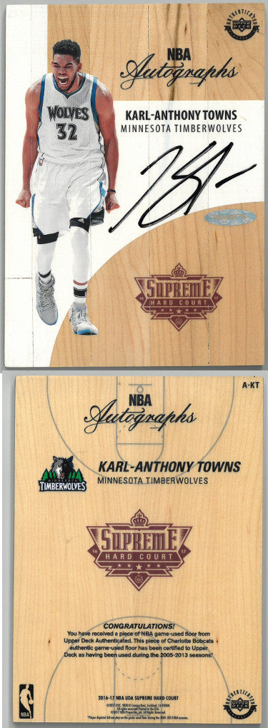 Karl-Anthony Towns signed Minnesota Timberwolves 2016-17 NBA Game Used Supreme Hard Court Floor Board (A-KT)- Upper Deck Holo PSM-Powers Sports Memorabilia