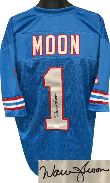 Warren Moon signed Blue TB Custom Stitched Pro Style Football Jersey 2XL- JSA Witnessed Hologram #WP911391 PSM-Powers Sports Memorabilia