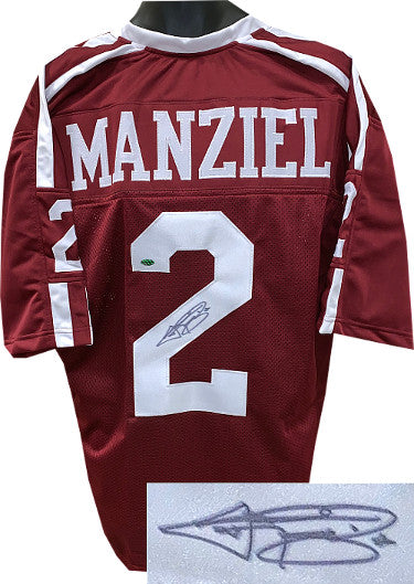 Johnny Manziel signed Maroon Custom Stitched College Football Jersey XL- Leaf Authentics Hologram PSM-Powers Sports Memorabilia