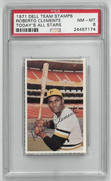 Roberto Clemente Pittsburgh Pirates 1971 Dell Team Stamps Baseball Card- PSA Graded 8 Near Mint-Mint PSM-Powers Sports Memorabilia