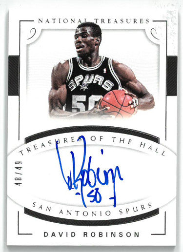 David Robinson signed San Antonio Spurs 2017-18 Panini National Treasures Basketball Card- LTD 48/49- #TH-DRB PSM-Powers Sports Memorabilia
