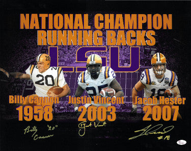 LSU Tigers National Champion Running Backs 16x20 Photo 3 sig-Billy Cannon/Justin Vincent/Jacob Hester-JSA Hologram #WP132244 PSM-Powers Sports Memorabilia